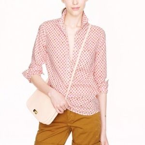 J Crew popover blouse size 8 cotton floral pink